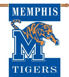 "Memphis Tigers 2-Sided 28"" X 40"" Banner w/ Pole Sleeve NCAA Logo"
