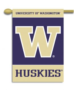 "Washington Huskies Team Logo 2-Sided 28"" X 40"" Banner w/ Pole Sleeve"