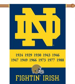 "Notre Dame Champ Years 2-Sided 28"" X 40"" Banner w/ Pole Sleeve"