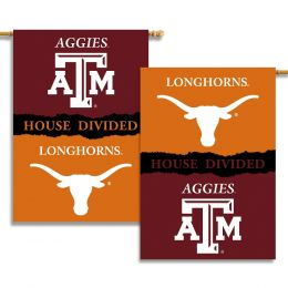 "Texas vs Texas A & M 2-Sided 28"" X 40"" Banner House Divided"