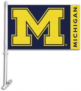 Michigan Wolverines Car Flag w/Wall Brackett College Team Logo