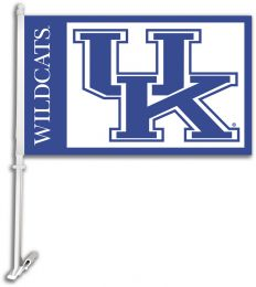 Kentucky Wildcats Car Flag w/Wall Brackett NCAA Team Logo