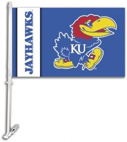 Kansas Jayhawks NCAA Team Logo Car Flag w/Wall Brackett