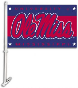 Mississippi Rebels NCAA College Logo Car Flag w/Wall Brackett