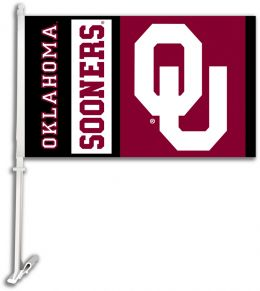 Oklahoma Sooners NCAA Team Logo Car Flag w/Wall Brackett