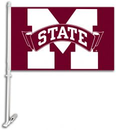 Mississippi State Bulldogs Car Flag w/Wall Brackett Team Logo