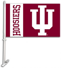 Indiana Hoosiers NCAA Team Logo Car Flag w/Wall Brackett