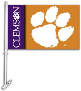 Clemson Tigers Car Flag w/Wall Brackett NCAA College Logo