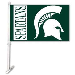 Michigan State Spartans Team Logo Car Flag w/Wall Brackett