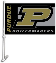 Purdue Boilermakers NCAA College Logo Car Flag w/Wall Brackett