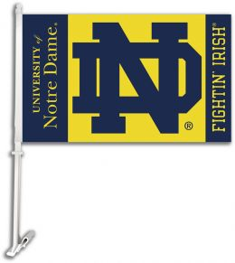 Notre Dame College Team Logo Car Flag w/Wall Brackett