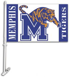 Memphis Tigers Car Flag w/Wall Brackett College Team Logo