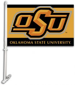 Oklahoma State Cowboys Car Flag w/Wall Brackett College Logo