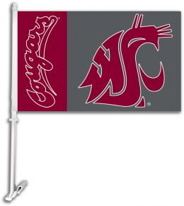 Washington State Cougars College Team Logo Car Flag w/Wall Brackett