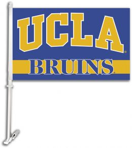 Ucla Bruins Car Flag w/Wall Brackett College Team Logo