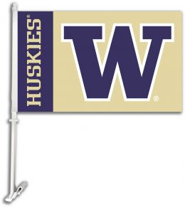 Washington Huskies NCAA College Team Logo Car Flag w/Wall Brackett
