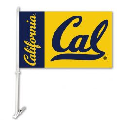 Cal Berkeley Golden Bears College Logo Car Flag w/Wall Brackett