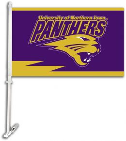 Northern Iowa College Team Logo Car Flag w/Wall Brackett