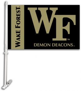 Wake Forest Car Flag w/Wall NCAA Brackett Collge Team Logo