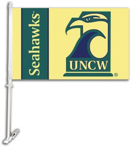Unc Wilmington NCAA College Team Logo Car Flag w/Wall Brackett