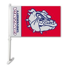 Gonzaga Bulldogs NCAA College Logo Car Flag w/Wall Brackett