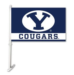 Brigham Young Cougars  NCAA Team Logo Car Flag w/Wall Brackett