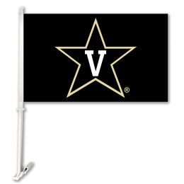 Vanderbilt Commodores College Team Logo Car Flag w/Wall Brackett