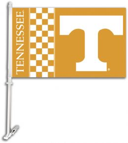 Tennessee Volunteers College Team Logo Car Flag w/Wall Brackett