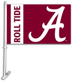 Alabama Crimson Tide Roll Tide Car Flag w/Wall Brackett