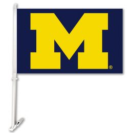 Michigan Wolverines Car Flag w/Wall Brackett NCAA Team Logo