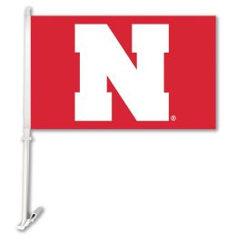 Nebraska Cornhuskers College Team Logo Car Flag w/Wall Brackett