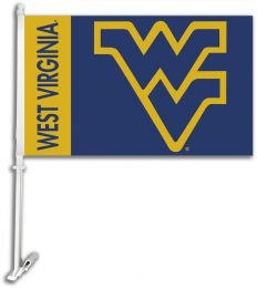 West Virginia Mountaineers NCAA Team Logo Car Flag w/Wall Brackett