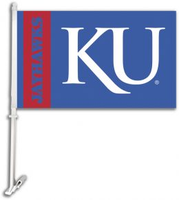 Kansas Jayhawks Car Flag w/Wall Brackett NCAA College Team Logo