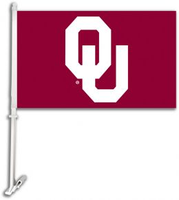 Oklahoma Sooners Car Flag w/Wall Brackett College Team Logo