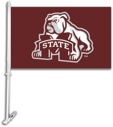 Mississippi State Bulldogs NCAA Logo Car Flag w/Wall Brackett