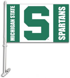 Michigan State Spartans College Logo Car Flag w/Wall Brackett