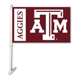 Texas A&M Aggies Car Flag w/Wall Brackett College Team Logo