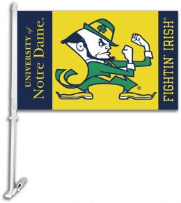 Notre Dame Car Flag w/Wall Brackett College Logo Blue & Gold