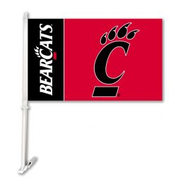 Cincinnati Bearcats Car Flag w/Wall Brackett College Team Logo