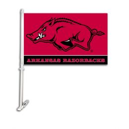 Arkansas Razorbacks Mascot Logo Car Flag w/Wall Brackett