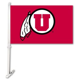 Utah Utes NCAA College Team Logo Car Flag w/Wall Brackett
