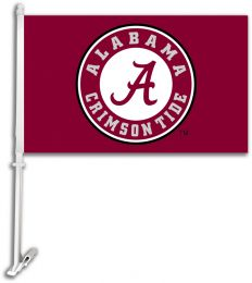 Alabama Crimson Tide School Emblem Car Flag w/ Brackett