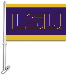 Louisiana State Tigers Team Logo Car Flag w/Wall Brackett