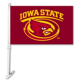 Iowa State Cyclones Car Flag w/Wall Brackett College Team Logo