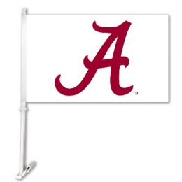 Alabama Crimson Tide White Logo Car Flag w/Wall Brackett