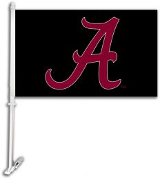 Alabama Crimson Tide Black Background Logo Car Flag