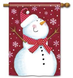 Red Snowman Winter Seasonal Standard House Flag