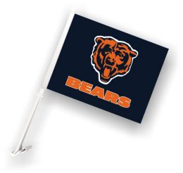 Chicago Bears NFL Team Logo Car Flag w/Wall Brackett