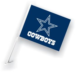 Dallas Cowboys NFL Team Logo Car Flag w/Wall Brackett
