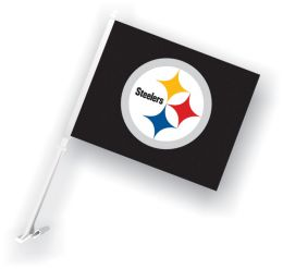 Pittsburgh Steelers Car Flag w/Wall Brackett NFL Team Logo